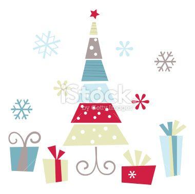 Retro Alpine Christmas Tree Royalty Free Stock Vector Art Illustration