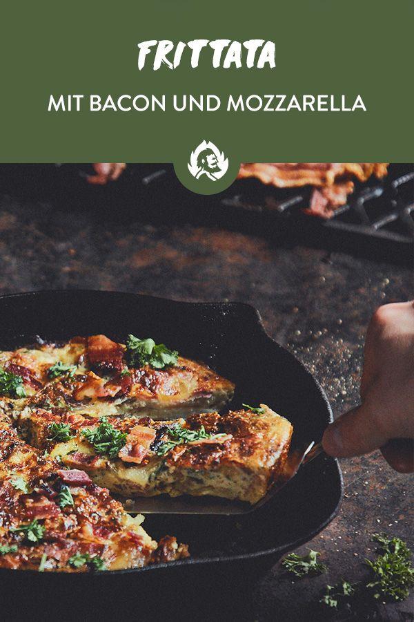 Frittata mit Kartoffeln, Mozzarella und Bacon aus der Gusseisenpfanne #kartoffeleckenbackofen