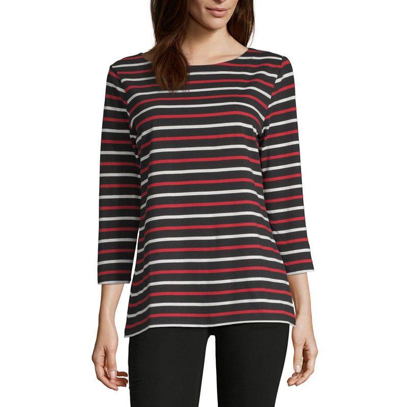 d344a8525ab02 Liz Claiborne Simply 3 4 Sleeve Boat Neck Stripe T-Shirt-Womens ...