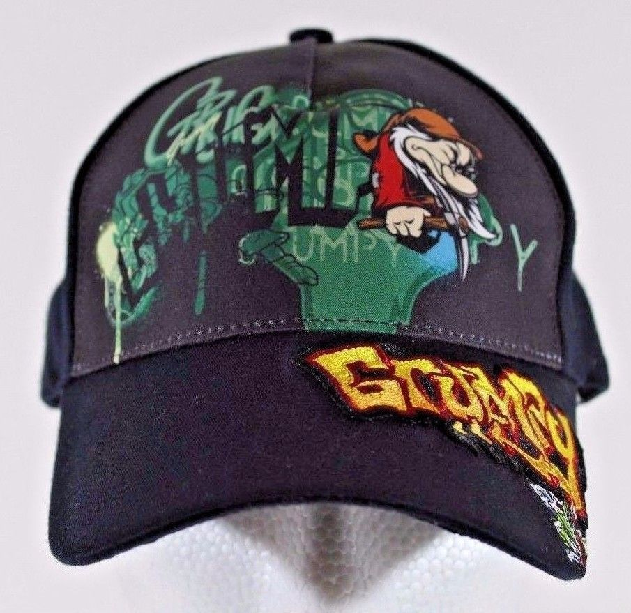 Walt Disney World Park Resort Grumpy Graffiti Black Adult Size Baseball Hat  Cap  f208d51e3eff