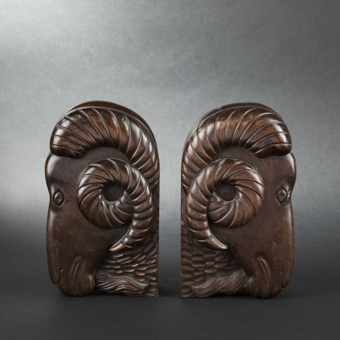 Pair of ram bookends, 20th century - others #expertissim