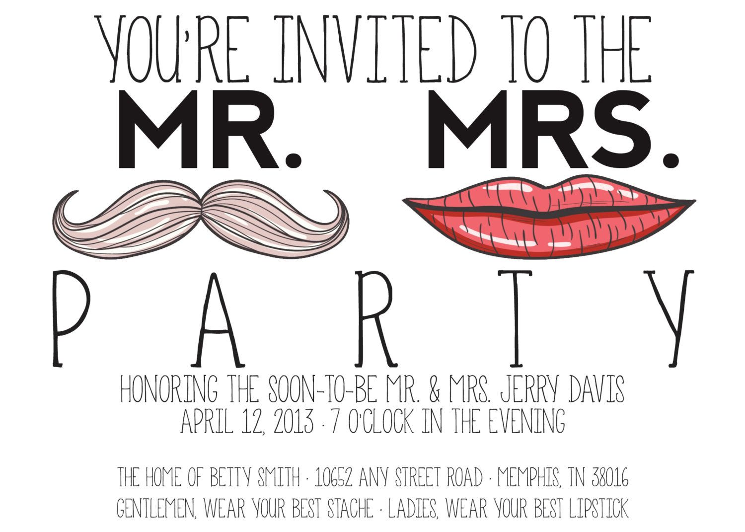 Mr. Mrs. Party- Couples Shower Invitation. $16.00, via Etsy ...