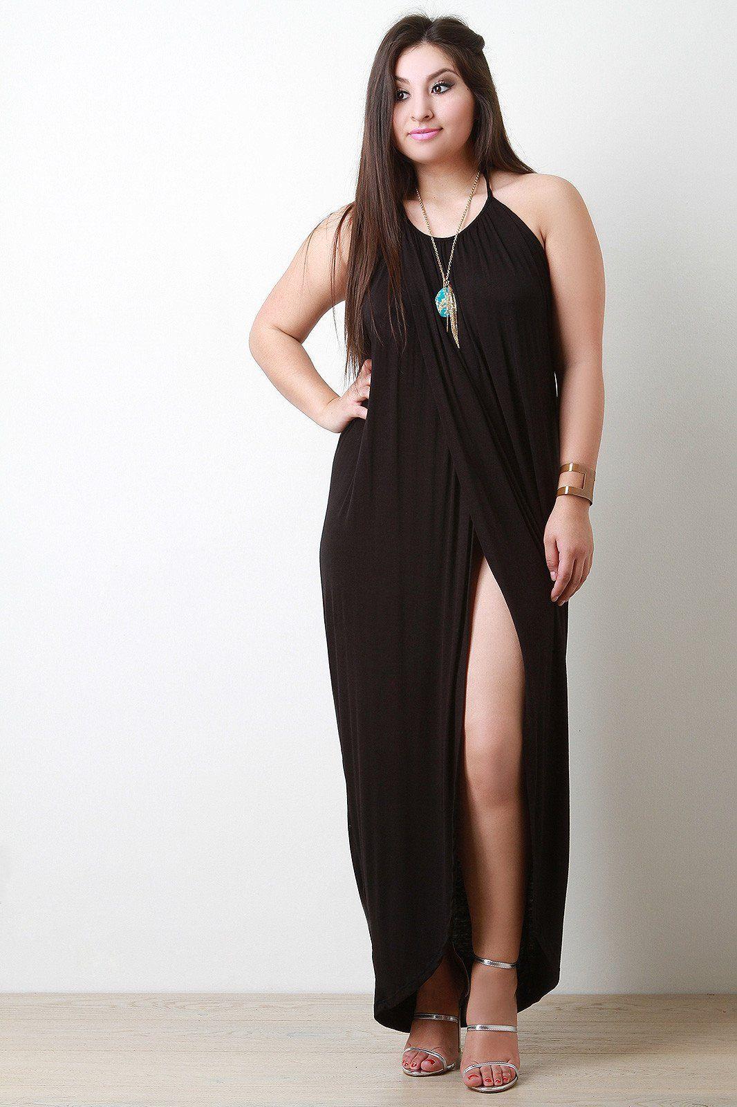 Halter front slit maxi dress beautiful woman pinterest hemline
