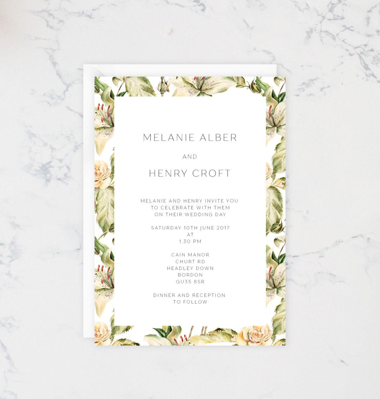 Printable Floral print wedding invitations, Yellow wedding ...