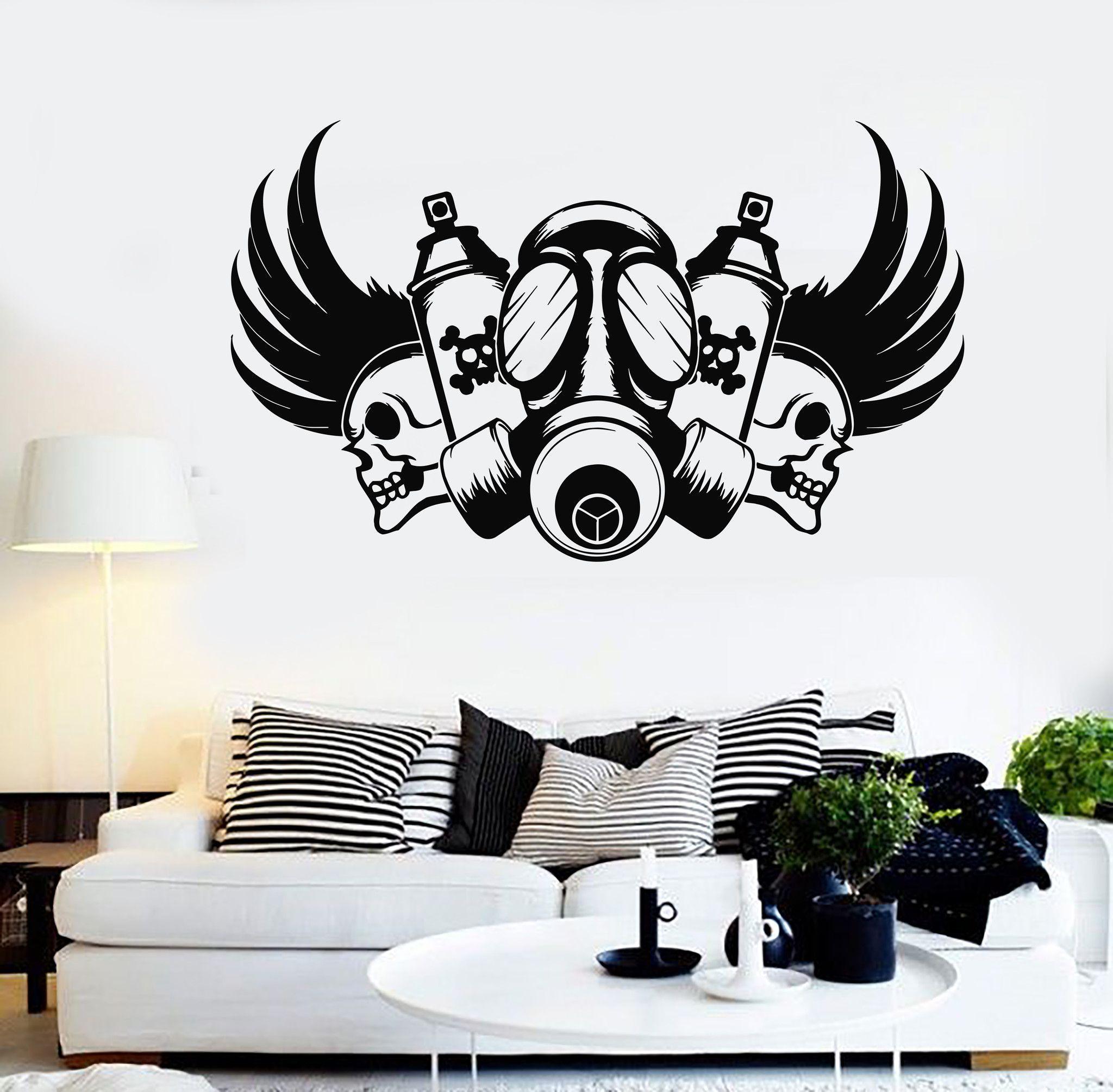Grafitti wall sticker - Vinyl Wall Decal Graffiti Artist Skull Gas Mask Stickers Mural 554ig