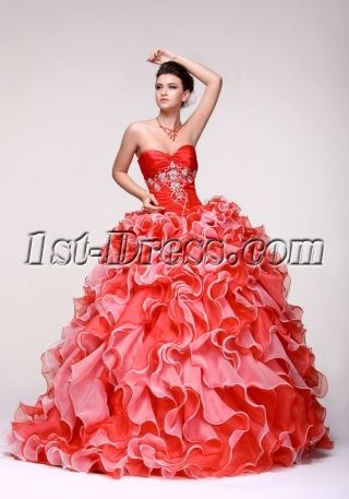 luxury colorful sweetheart ruffled 2014 quince gown dress