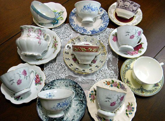 10 MISMATCHED Cups and Saucers Lot Tea Party or Vintage Wedding