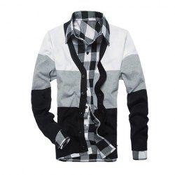 $10.18 Fashion V-Neck Long Sleeves Color Block Splicing Cotton Blend Knit Cardigan For Men