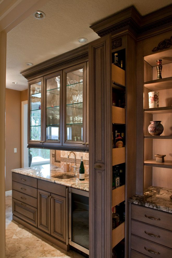 Hidden liquor cabinet kitchen traditional with award - Built in bar ideas ...