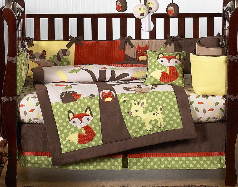 Woodland Creatures Forest Friends Animals Baby Bedding 9 Pc Crib Set