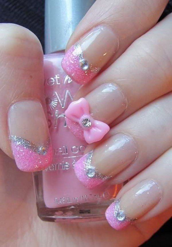 Pretty Pink Nail Design With Glitter Rhinestones And A Pretty Pink