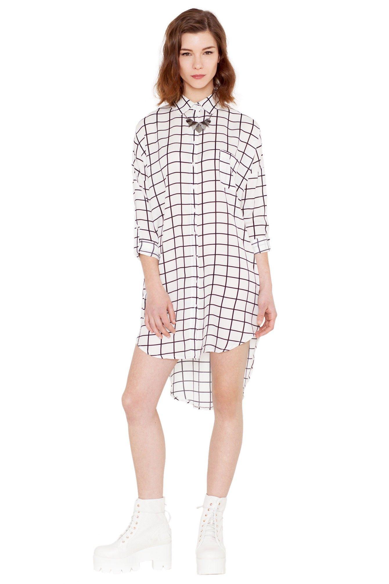 Chemise longue à carreaux blanc Quanda - Plaid Lovers - Trends