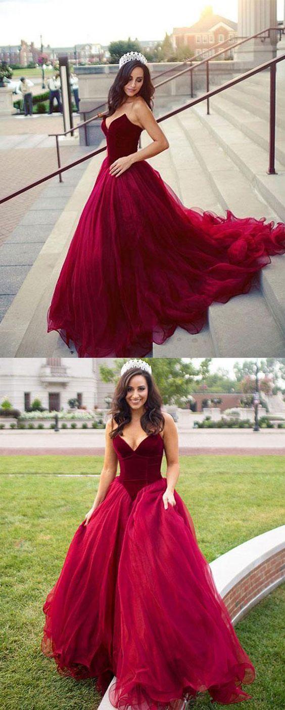 Gorgeous ball gown v neck backless dark red tulle u velvet long prom