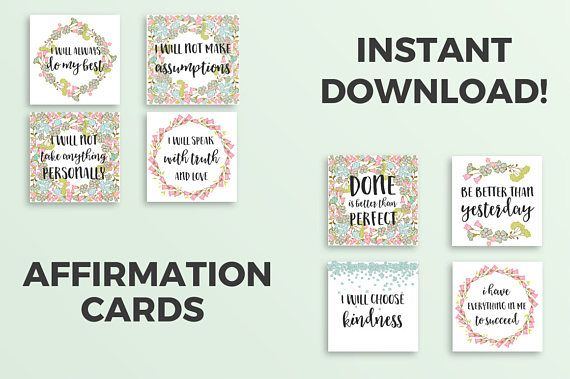 Printable Affirmation Cards //The Four Agreements ...