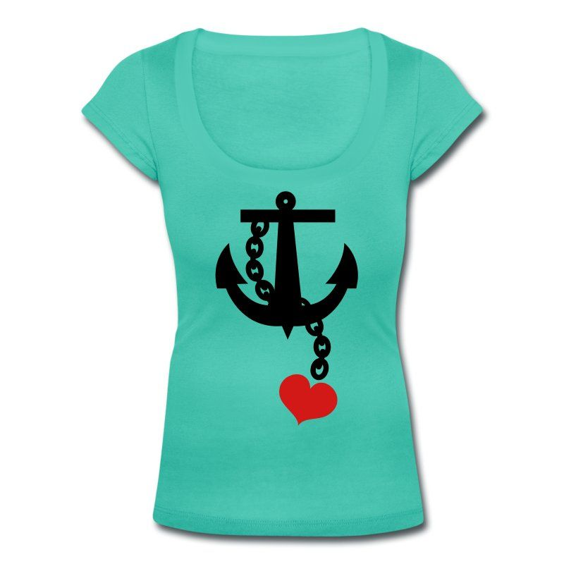 Teal anchor with love heart Women's T-Shirts - Women's Scoop Neck T-Shirt
