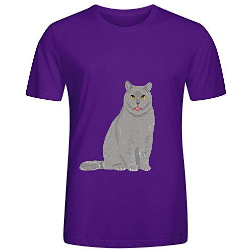 Grey Cat Egyptian Mau Cute Meme Men O Neck Design Shirt Purple *** You can find more details by visiting the image link.