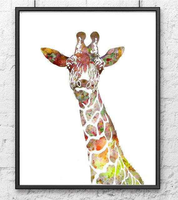 Giraffe Kunstdruck, Tier Aquarell, Kinder-Wand-Dekor, Kinder rt, Kinder Zimmer Dekor, Wand Kunstdruck, Druck Illustration – 125