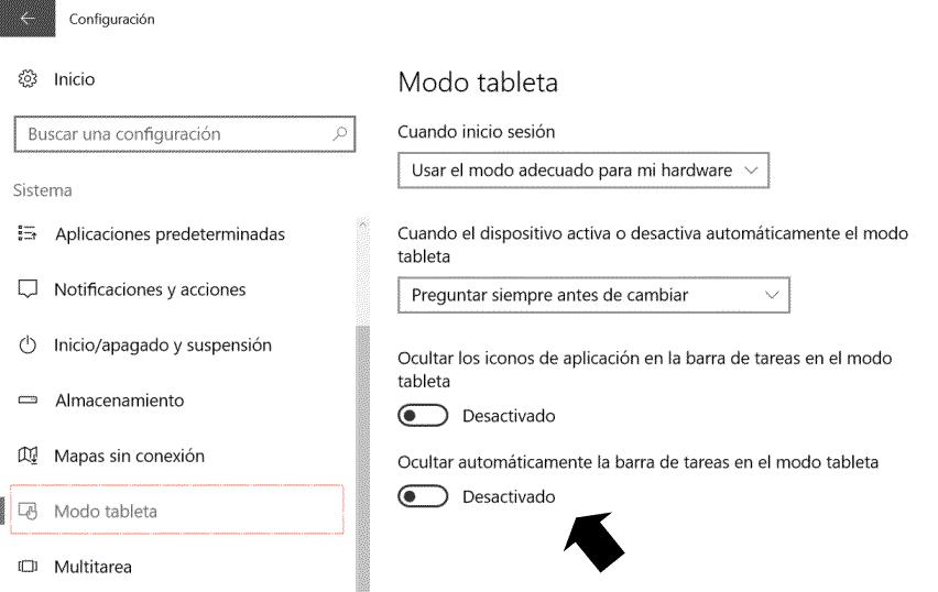Configuración modo tableta