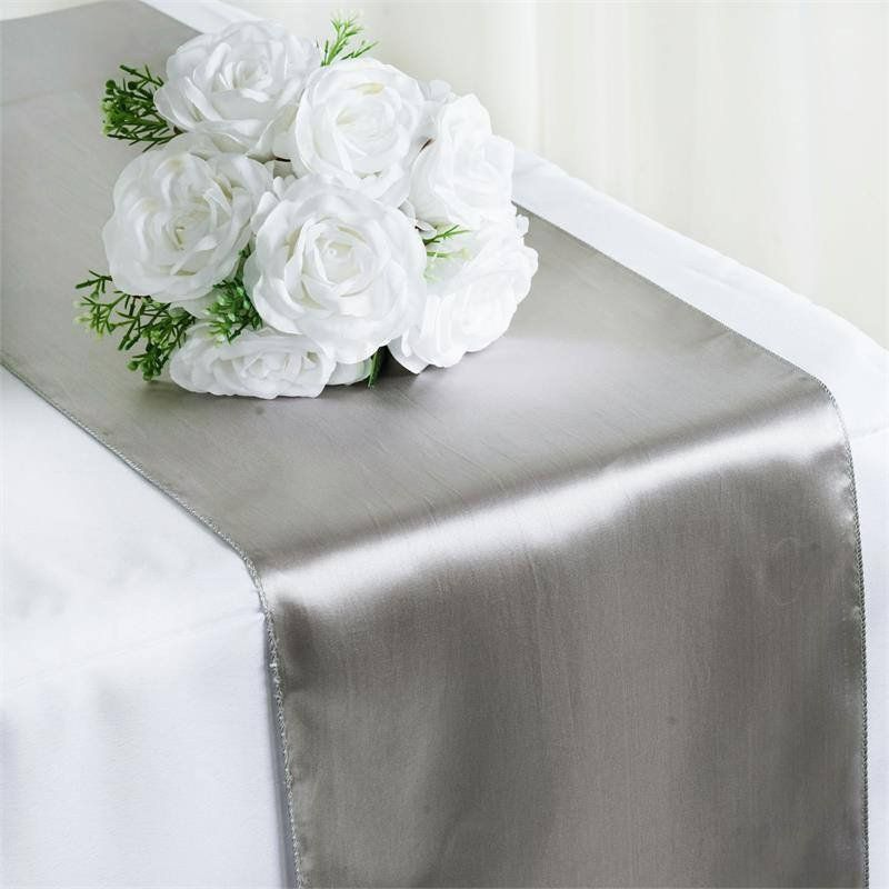 12 x 108 satin runner for table top wedding catering party 12 x 108 satin runner for table top wedding catering party decorations silver junglespirit Image collections
