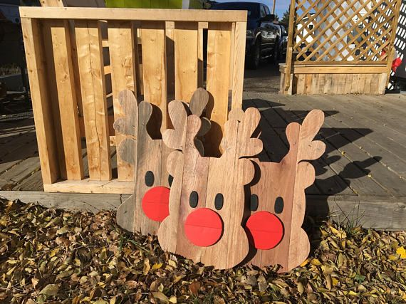 Rudolph Face Reclaimed wood outdoor Christmas decor/ Rudolph the red - outside christmas decorations sale