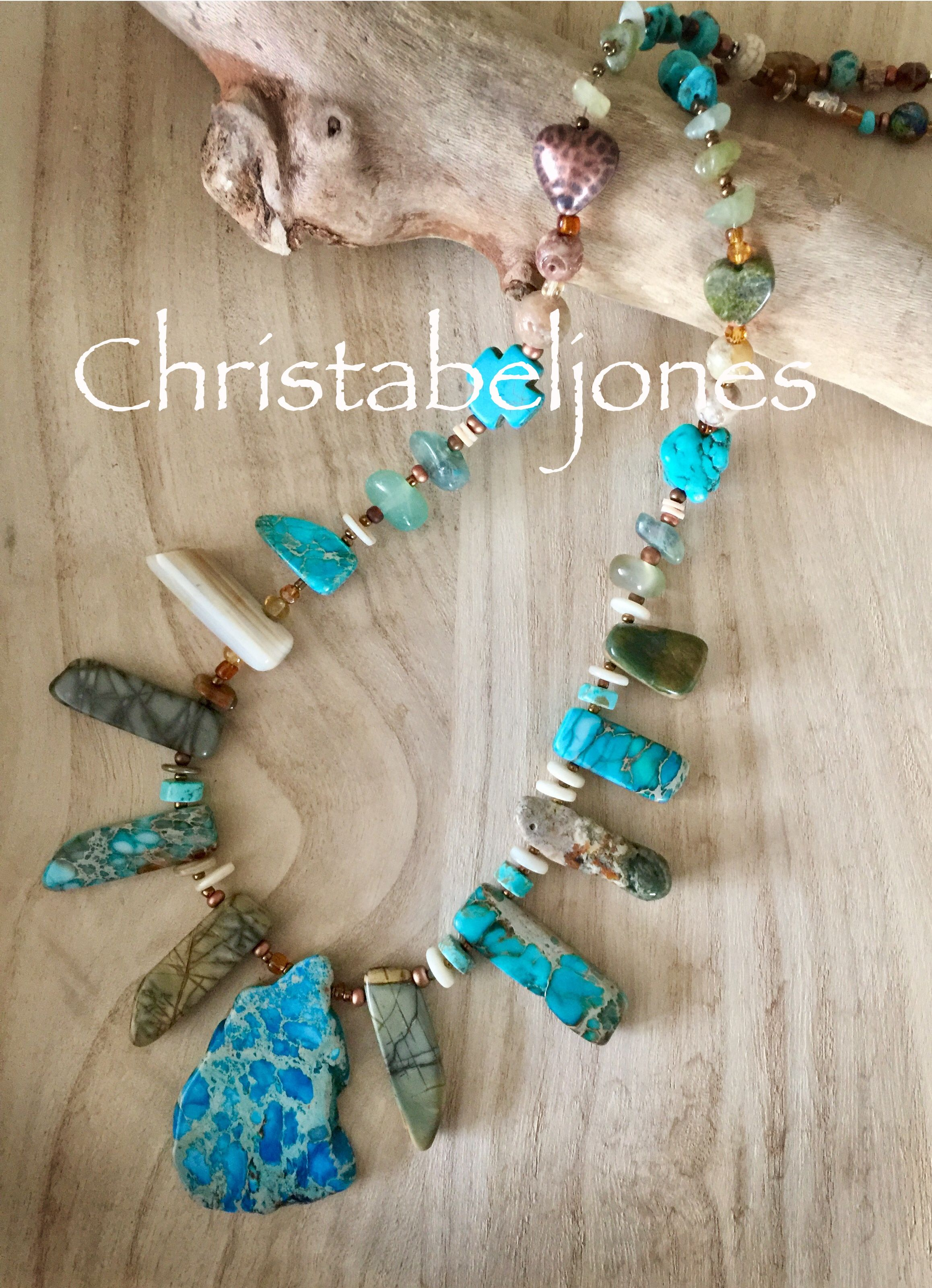 Turquoise and stone necklace
