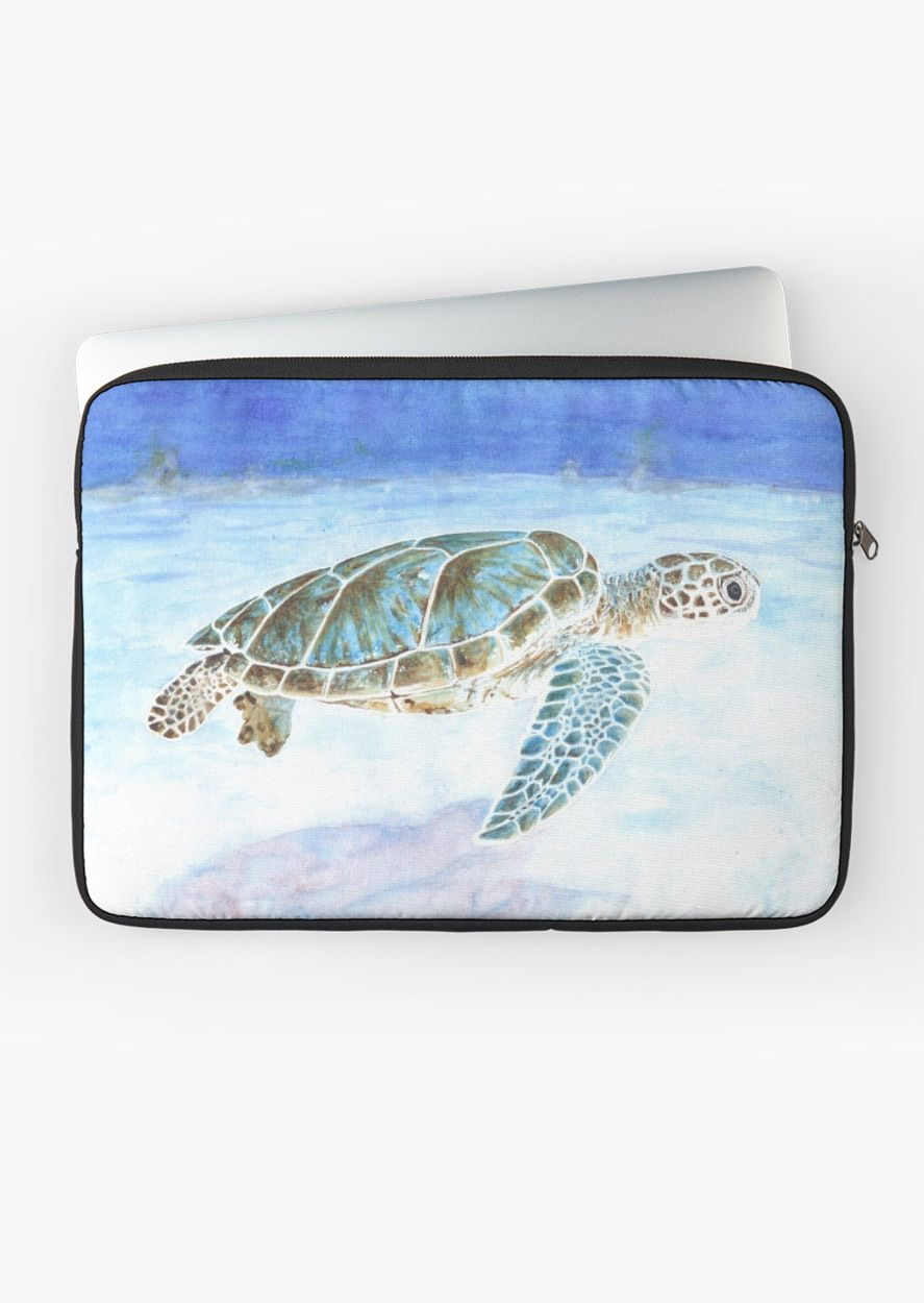 """""""Sea turtle underwater"""" Laptop Sleeve by Savousepate on Redbubble #laptopsleeve #watercolor #painting #seaturtle #blue #turquoise #aqua #mint #white"""