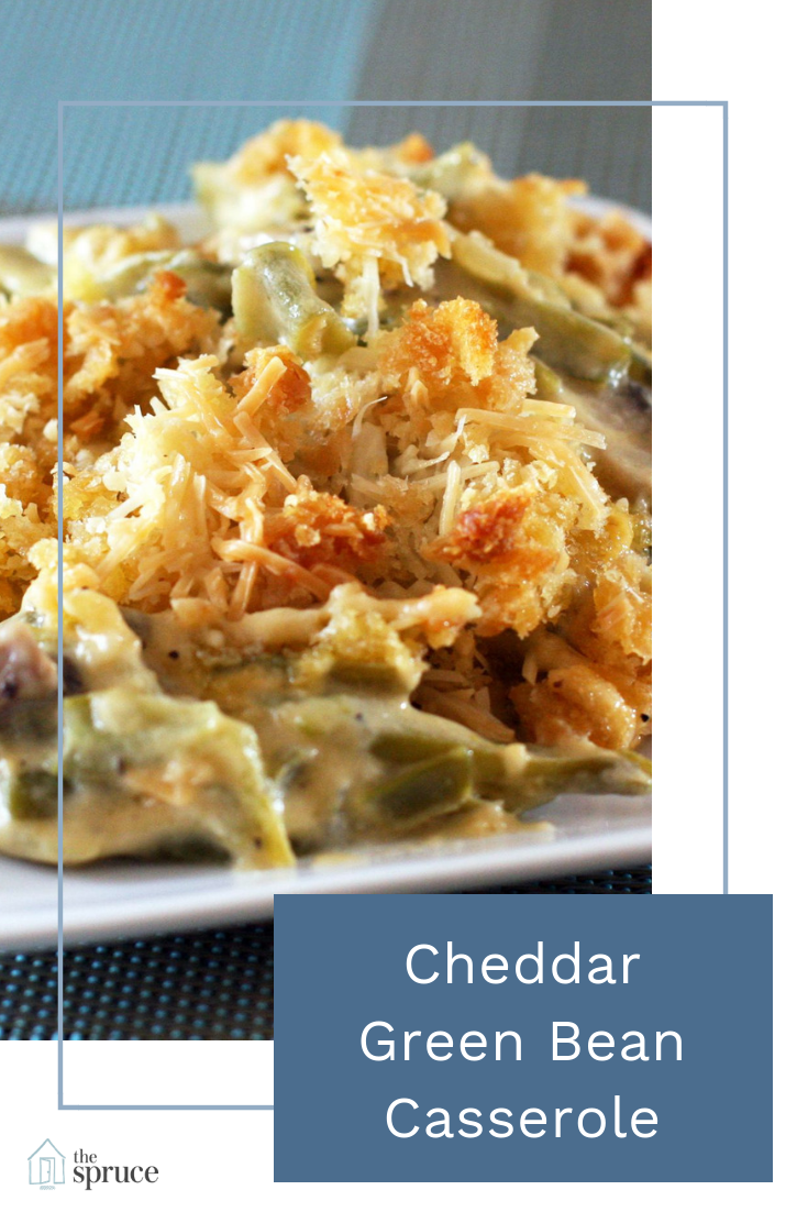 Cheddar Gives This Southern Green Bean Casserole Extra Creaminess Recipe Cheddar Green Bean Casserole Green Bean Casserole Cheesy Green Bean Casserole