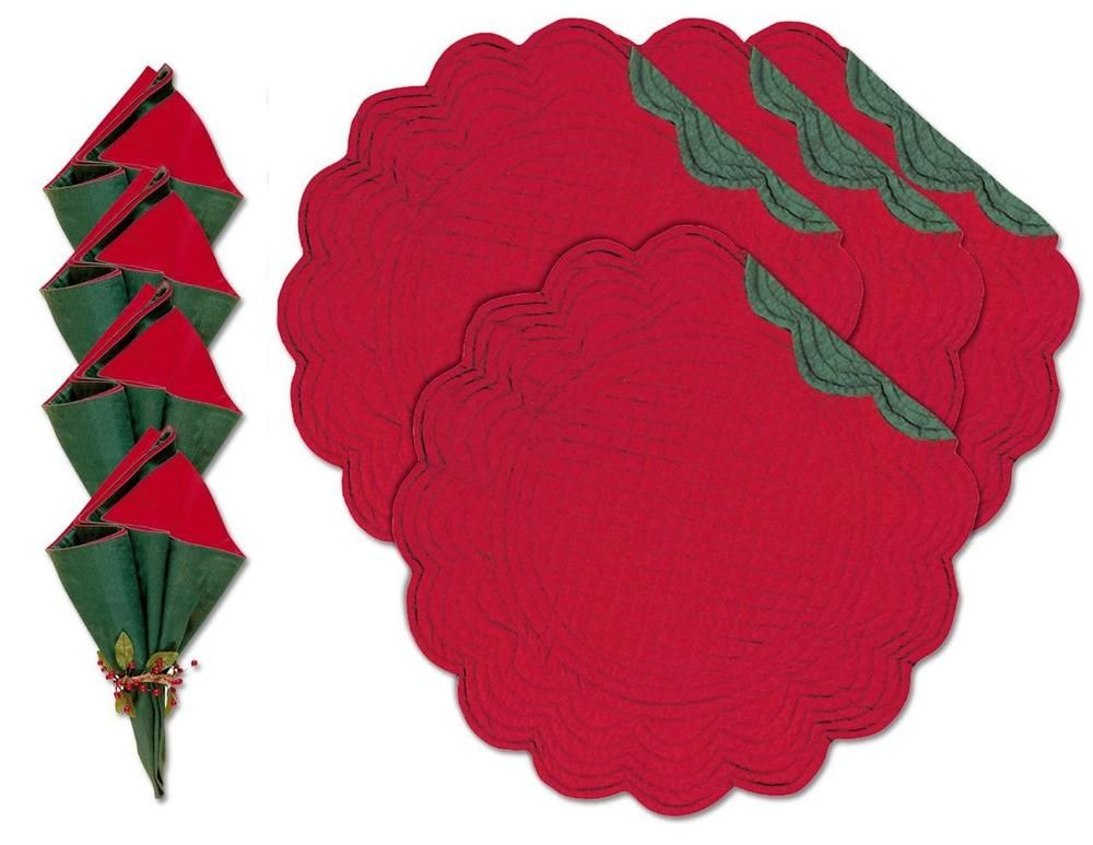 4 Placemats Fabric Napkins Set Reversible Christmas Holiday Red Green 17 Round Fabric Napkin Holiday Red Napkins Set