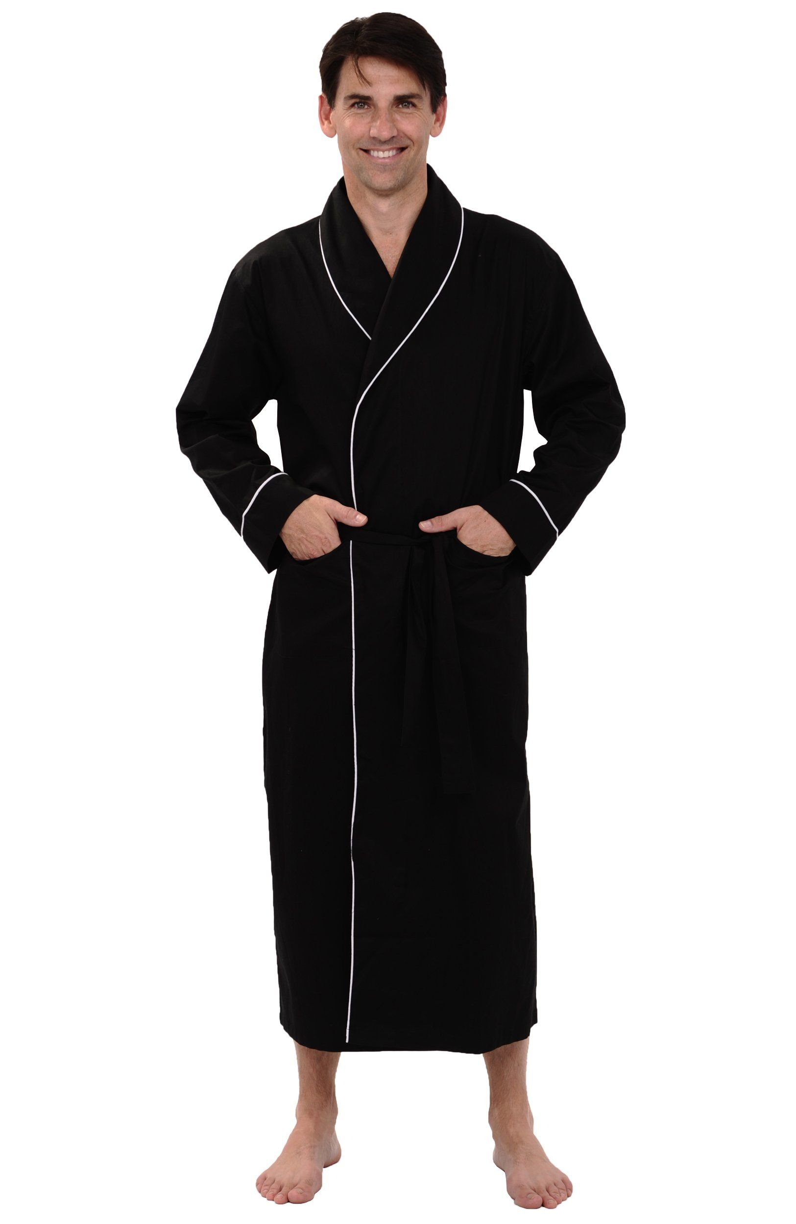 a7f6f3233b Del Rossa Men s 100% Cotton Lightweight Woven Bathrobe Robe