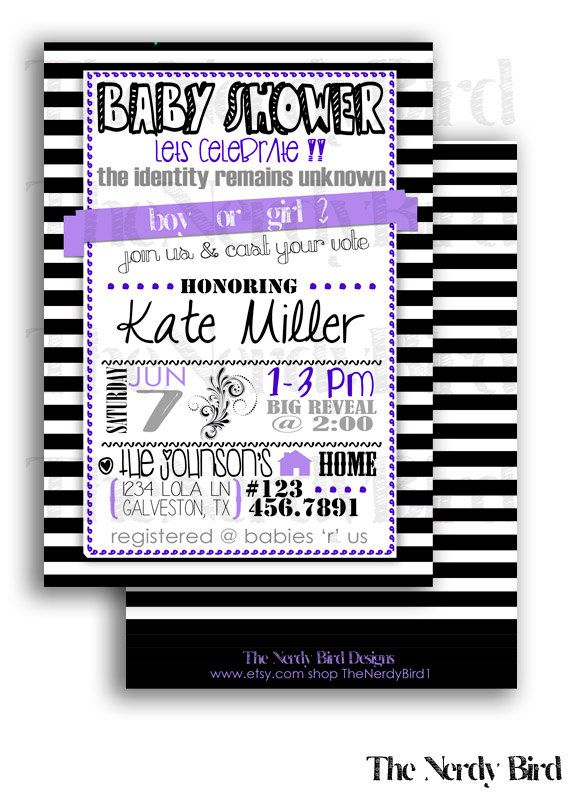 Black and white striped with purple gender reveal printable baby black and white striped with purple gender reveal printable baby shower invitation by thenerdybird1 1500 filmwisefo