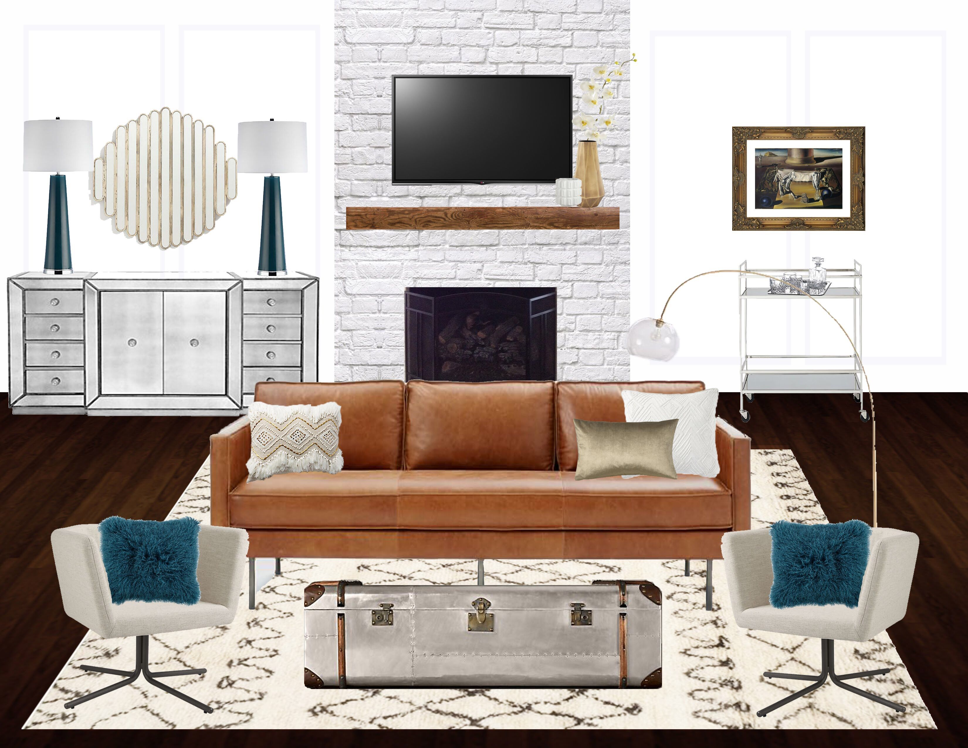 Living Room Mood Board Interior Design Virtual Design Mid Century
