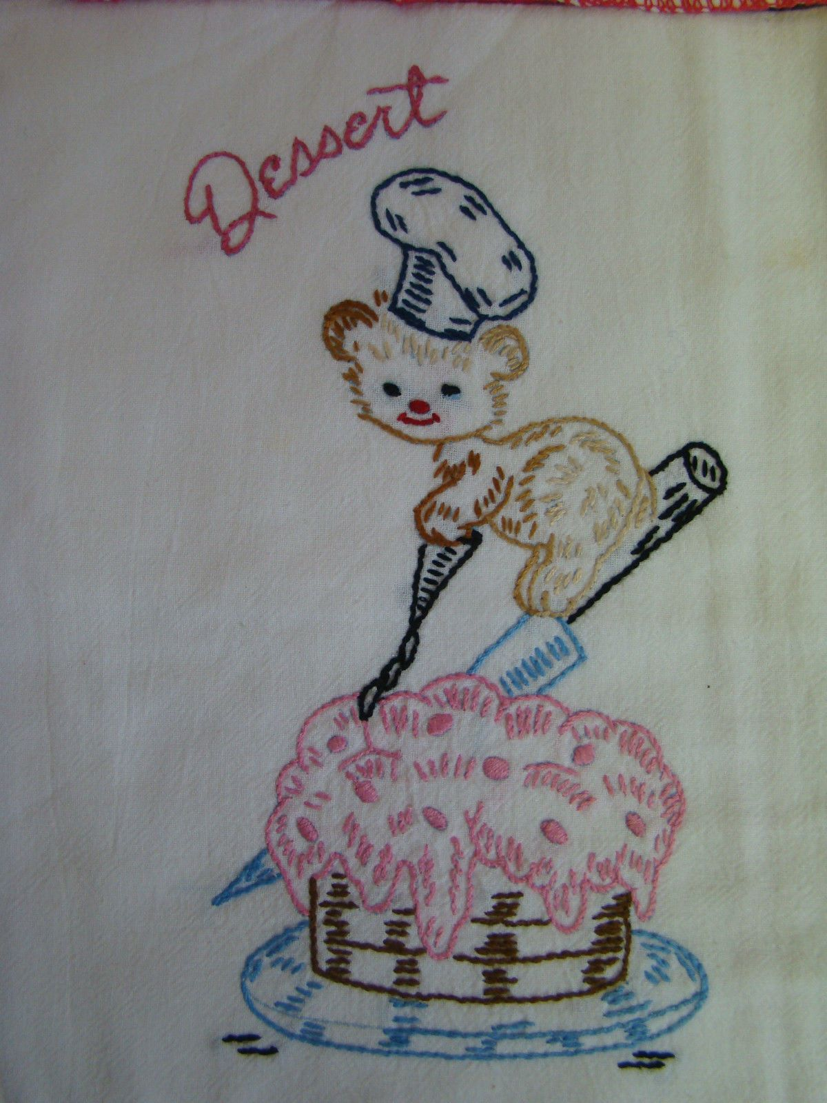 6 Vintage Hand EMBROIDERED Flour Sack Dish Towels