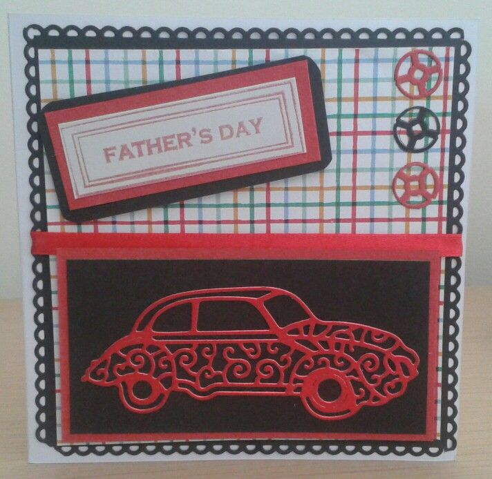 Father's day card using tattered lace classic car die and mini steering wheels created using centre of spellbinders noble rectangle die set then cutting out with tiny circle die