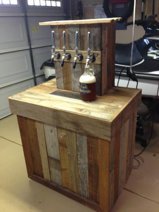 Reclaimed wood bar tap i love this idea great way to use for Home bar with kegerator space