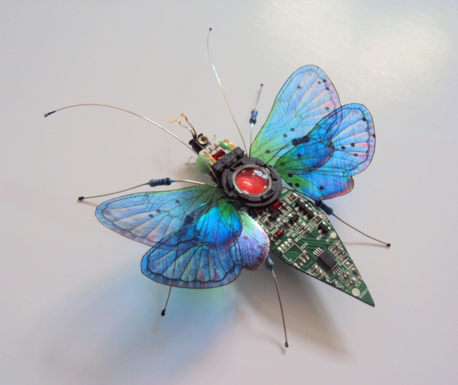 The 'Through the Looking Glass' Circuit Board Insect. by DewLeaf on Etsy