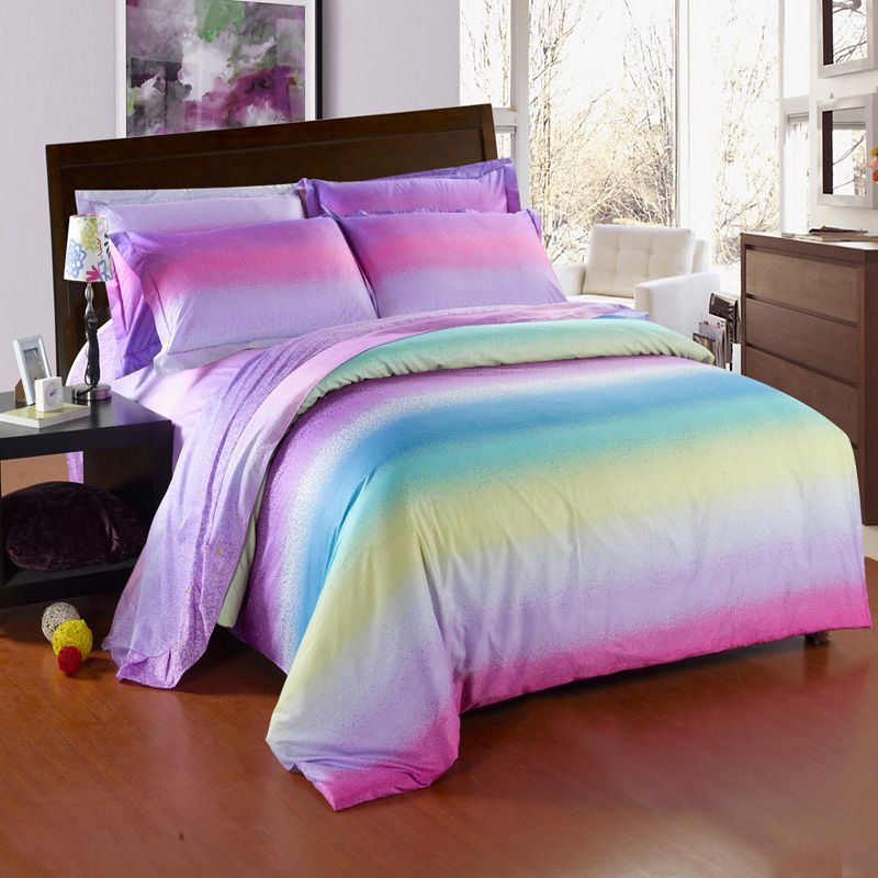 colorful Candy Stripe Twin full queen Size Toile Bedding