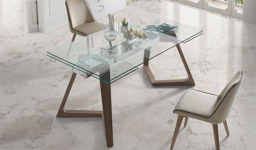 Mesa comedor Extensible con Tapa de Cristal y patas de ...
