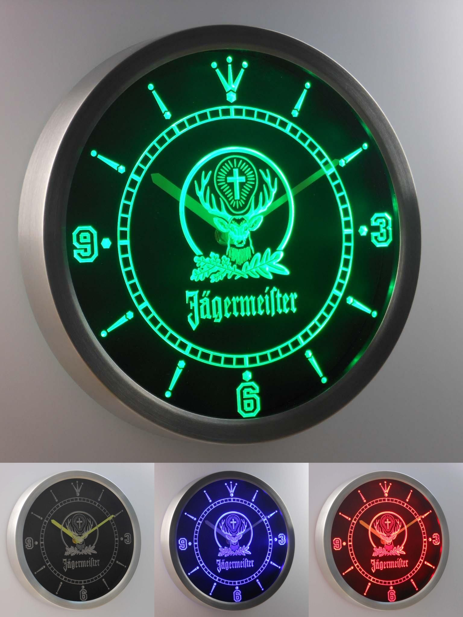 Visit To Buy Nc0572 Jagermeister Beer Neon Sign Led Wall Clock Advertisement Led Wall Clock Wall Clock Clock