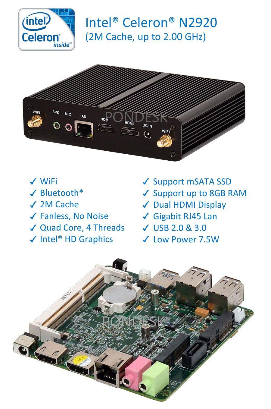 Intel Celeron N2920 Quad Core 2GHz WiFi HDMI Fanless Mini PC