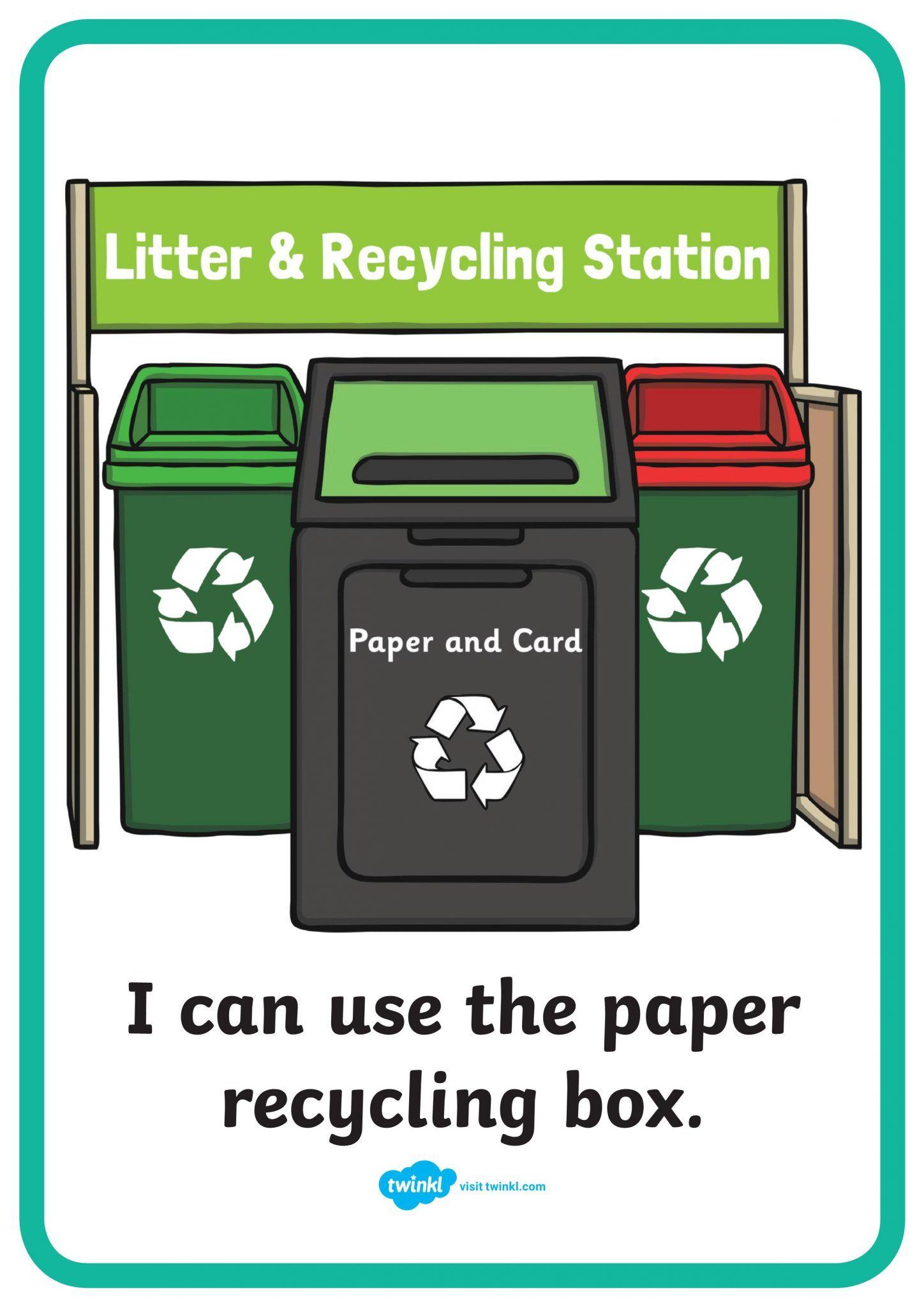 ملصقات ملونة ارشادات اعادة التدوير باللغة الانجليزية Recycling Station Recycle Box Recycled Paper