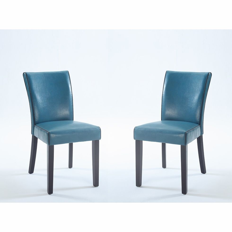 Chintaly   Michelle Bonded Leather Parsons Chair In Blue Set Of 2    MICHELLE PRS