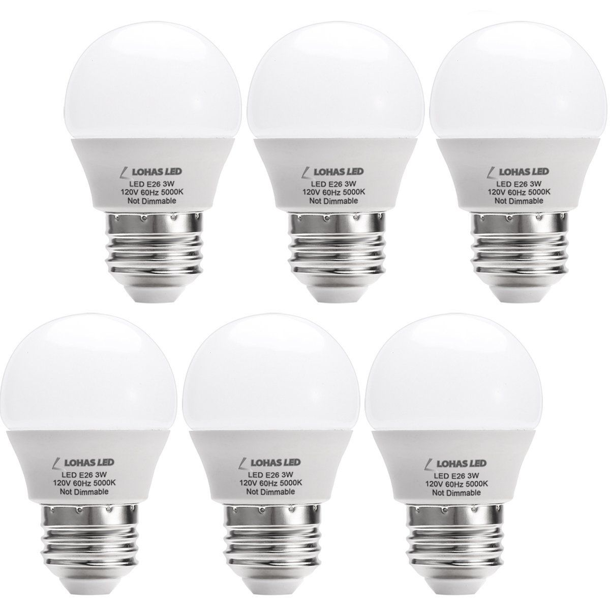 Lohas Led G14 Light Bulb 3w Daylight White 5000k Led Energy Saving Light Bulbs 25 Watt Equivalent Led Lights For Home E26 Medium Screw Base 6 Pack Https