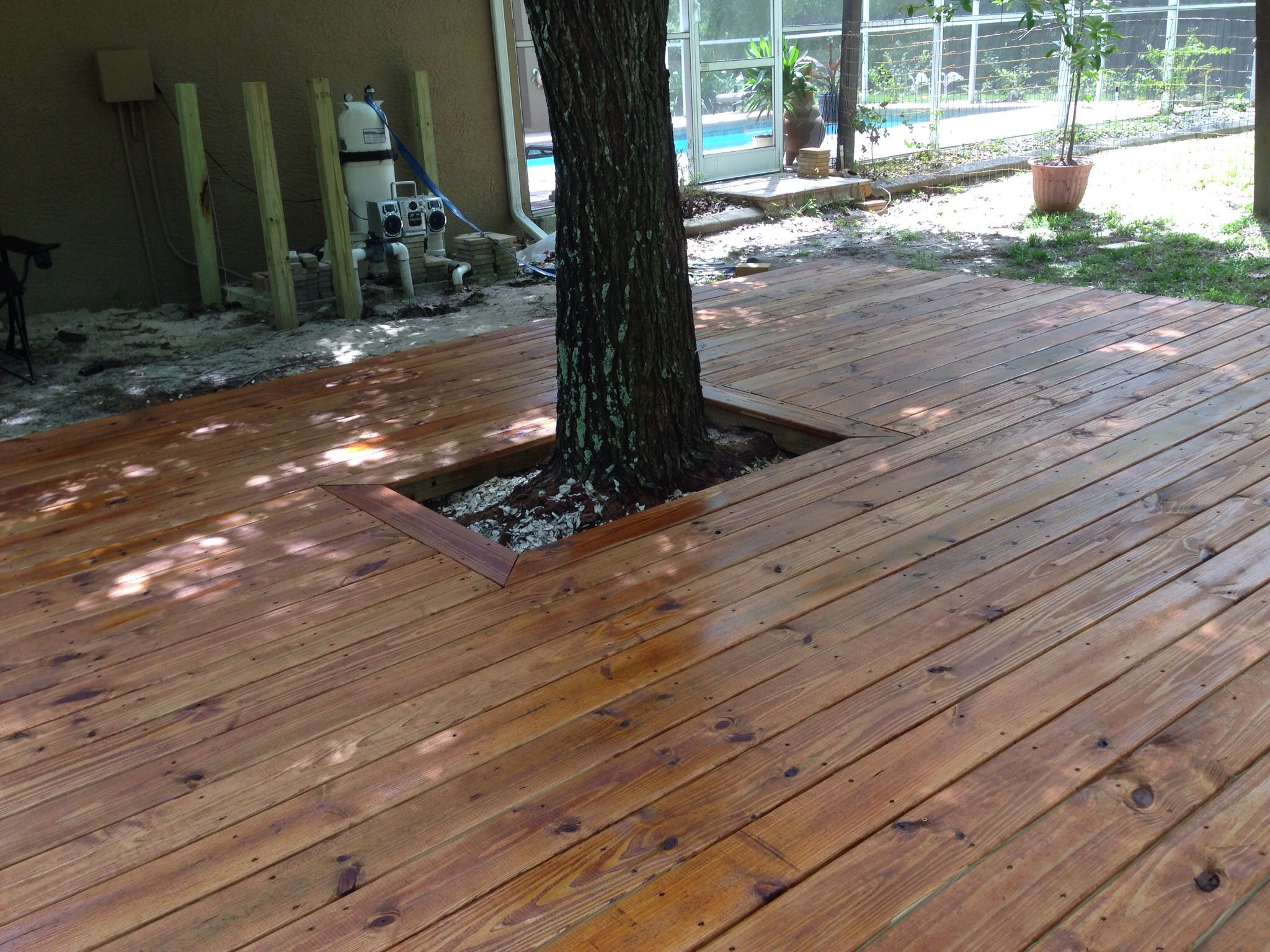 Our New Freshly Stained Deck We Used Olympic Elite Woodland Oil In The Mountain Cedar Color Cedar Deck Stain Deck Stain Colors House Deck