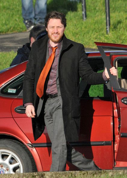 """Actor James McAvoy films his new movie, """"Filth"""" on January 23, 2012 in Glasgow, Scotland. The guys smoked cigarettes and laughed between takes in the cold, rural location. (January 23, 2012 - Photo by FameFlynet Pictures)"""