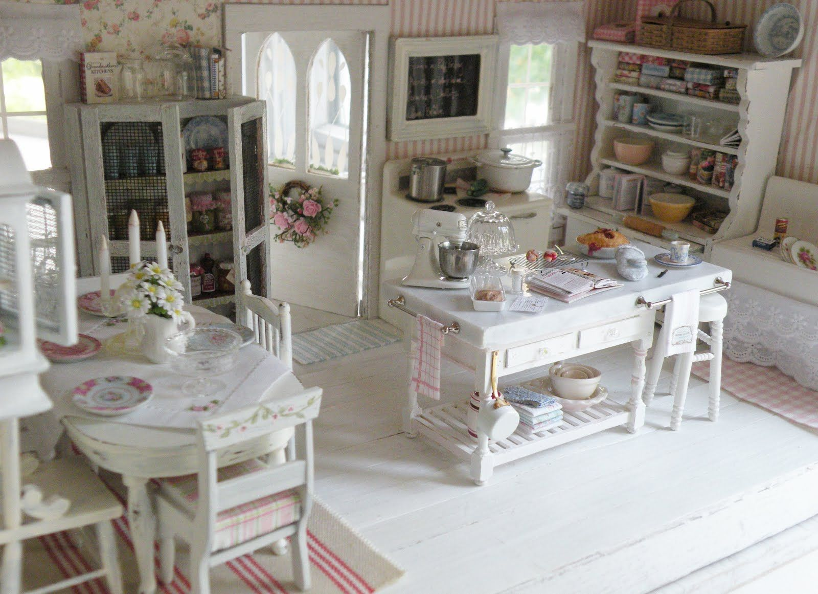 Beautiful Shabby Chic Kitchen Love The Marble Island