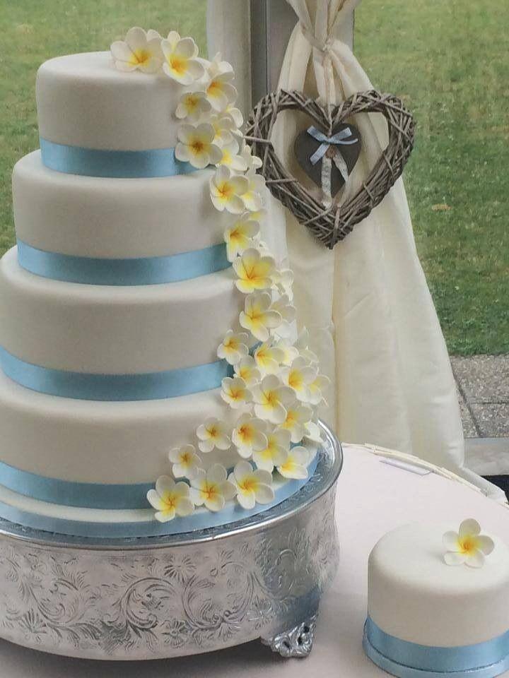 Yellow And Turquoise Wedding Tiered Cake