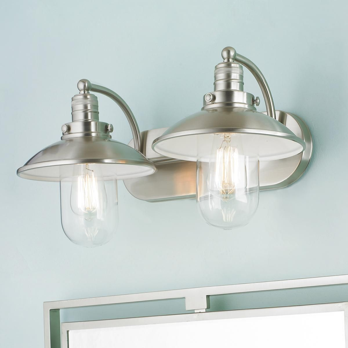 Schooner bath light 2 light bath light vanities and for Lighting over bathroom vanity