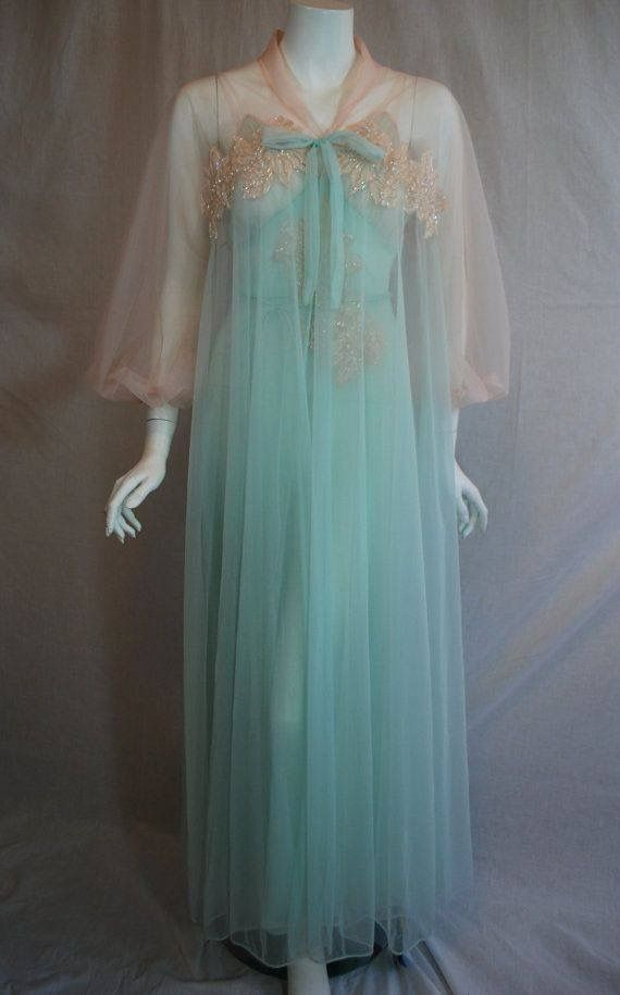Vintage Peignoir Set by Gotham  1960s Full Length Nightgown and Robe  Vintage Lingerie  Vintage Nightgown  Powder Blue Baby Blue Lace