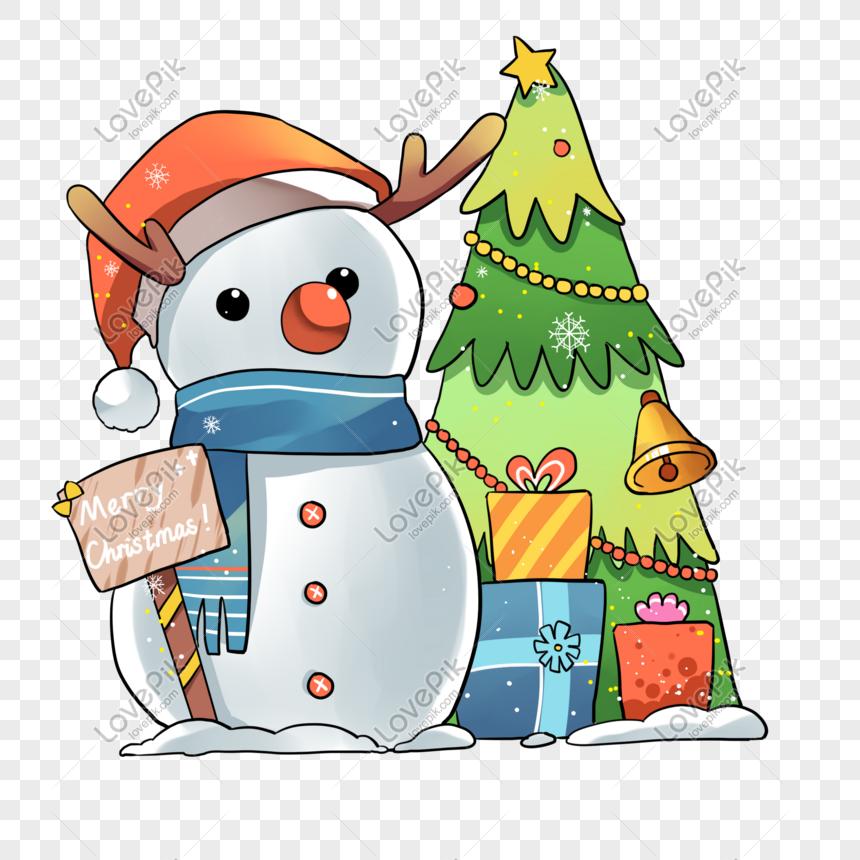 Dibujos Animados De Navidad Muneco De Nieve Arbol De Navidad Ilu Snowman Christmas Tree Christmas Snowman Tree Illustration