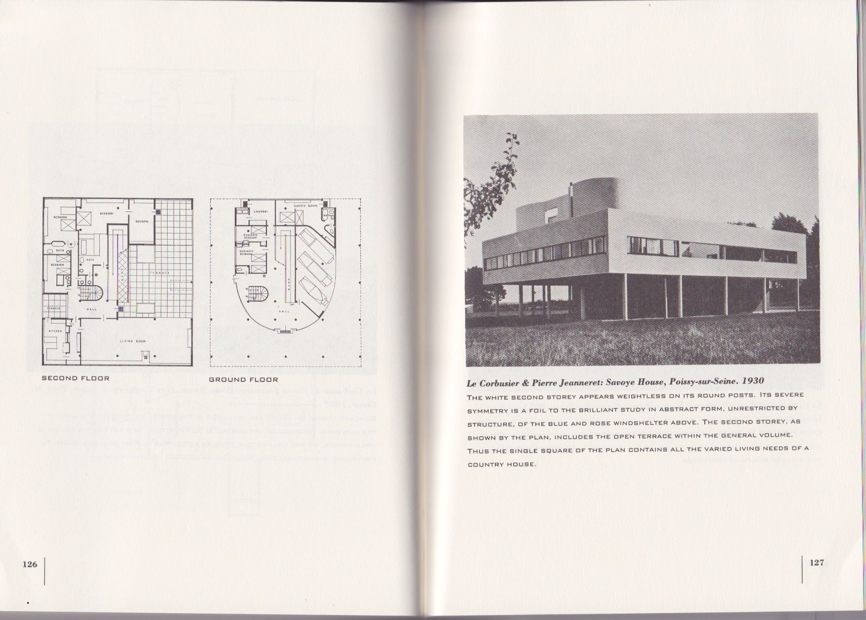 Plans And Photograph Of The Villa Savoye From The Book The International Style Architecture Since 1922 By Henr Book Cover Design Philip Johnson Book Design
